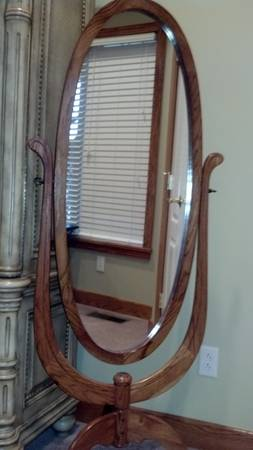 Oak Chevel Mirror $30