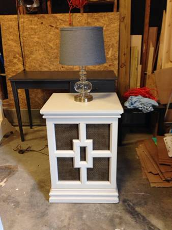 Pair of Nightstands/End tables $75  - I love these nightstands that were made from old speakers, they have a great modern look.