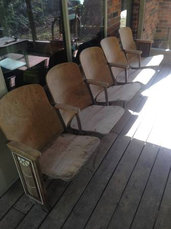 Antique Auditorium Seats $125  - Love these seats, they have a great art deco side piece on either end of the set.