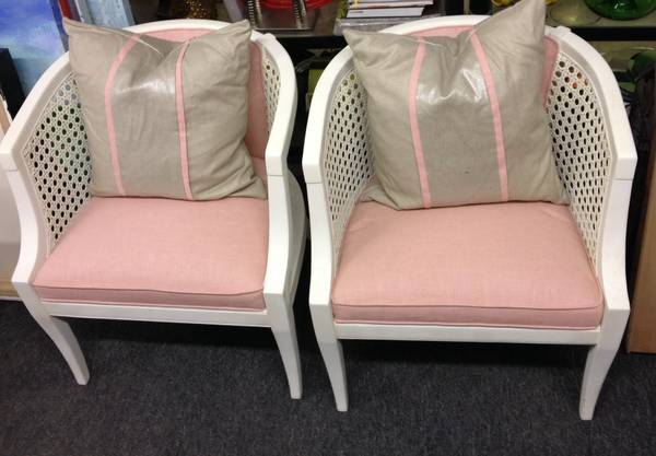 Pair of Restored Cane Chairs $275  - I love these cane back chairs and these have already been painted and reupholstered and are a good price for the pair.