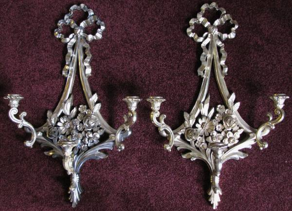 Pair of Sconces $25  - Such a pretty pair of sconces. I can picture these in a nursery or a little girl's room.