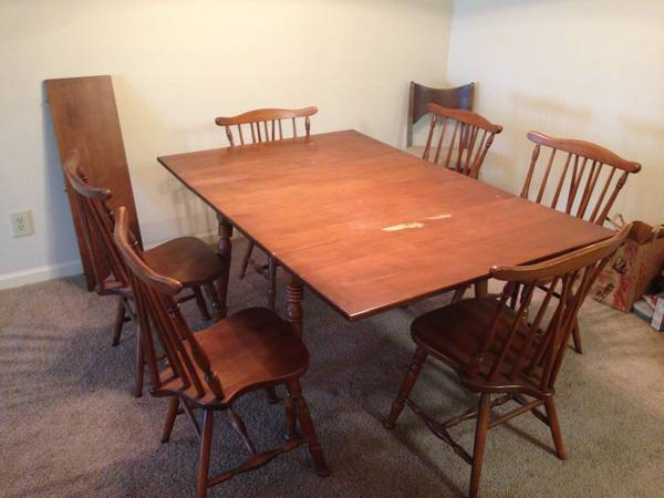 Dropleaf Dining Table with 6 Chairs $150  - This is a good price for a set. Would look really cute painted.