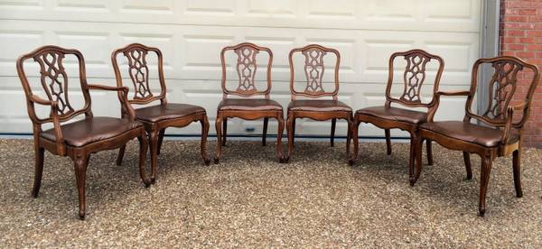 Set of 6 Dining Chairs $150  - This is a good price for these chairs. These types of seats are pretty easy to reupholster.