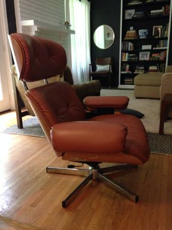 Eames Style Recliner $150  - These Eames style reproduction chairs sell for a lot, this one is missing the ottoman and is missing a button but if you were wanting an Eames chair and didn't want to break the bank this would be a great chair for you.