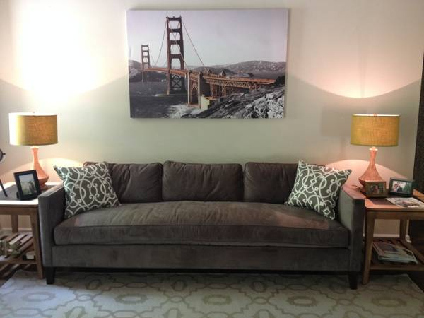 West Elm Down-Filled Sofa $1000  - This sofa is still sold at West Elm and is priced at $1900, sellers have had this in a formal living room so it has not been used.