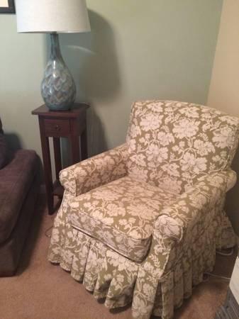 Pier One Skirted Chair $50  - This would make a cute nursery chair.