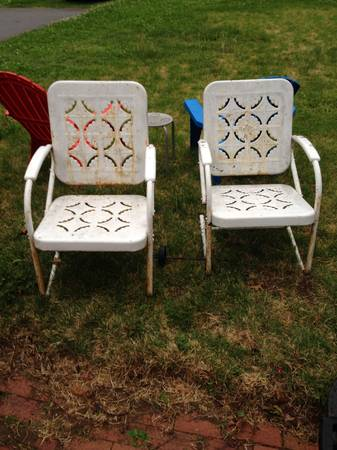 Pair of Vintage Metal Lawn Chairs $75  - These are great vintage chairs and just need to be repainted (I'd use spray paint specific for outdoor furniture for these).