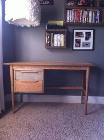 Mid Century Desk $50  - This desk has been sanded and ready for a coat of paint or stain.