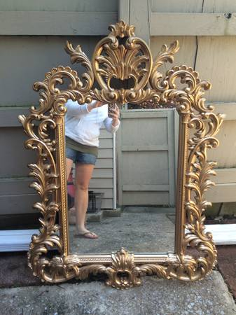 Ornate Mirror $50  - I like the gold but I think this would be a great candidate to spray paint either a high gloss white or a fun color.