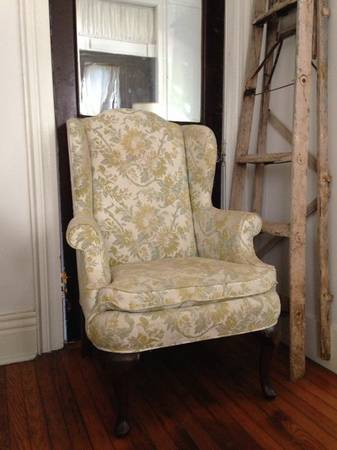 Antique Wingback Chair $20  - This is a really good price and I really like the fabric on it and it seems to be in good condition.