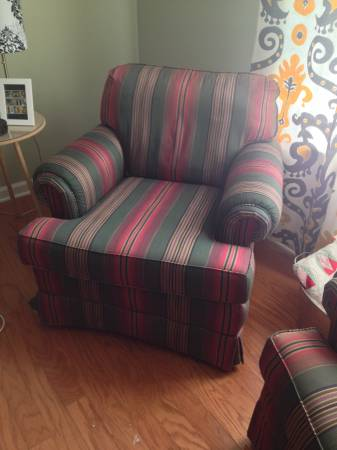 Pair of Striped Accent Chairs $300
