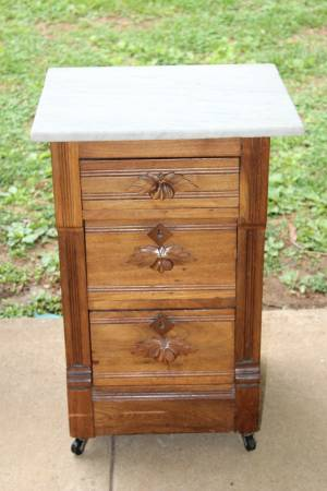 Antique Three Drawer Chest with Marble Top $85