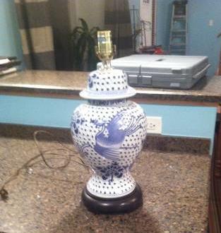 Blue and White Porcelain Lamp Base $30