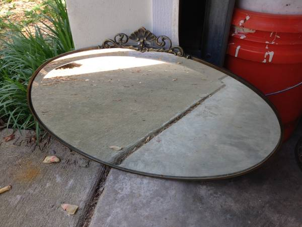Antique Oval Beveled Mirror $40