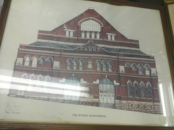 Print of the Ryman $100  - This is a great print of the Ryman Auditorium and fun to have a piece of Nashville music history for your wall. I don't thick $100 is a bad price but you might be able to negotiate a bit.
