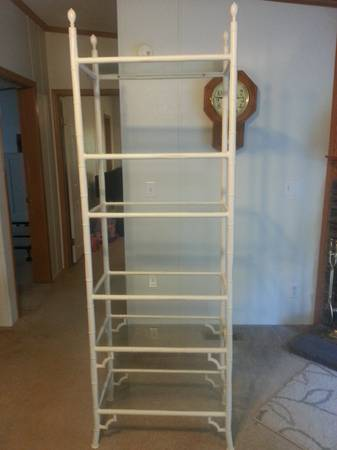 Metal and Glass Shelf $100  - I really like the look of this shelf (especially the bamboo accents) I think it looks nice as is but would look great painted gold.