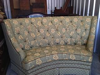 Curved Sofa $300  - This has been on Craigslist for a week or so but seller keeps reducing the price ( I think it started out at $500). This piece would be a good option for around a table or could be used for a small sitting area.