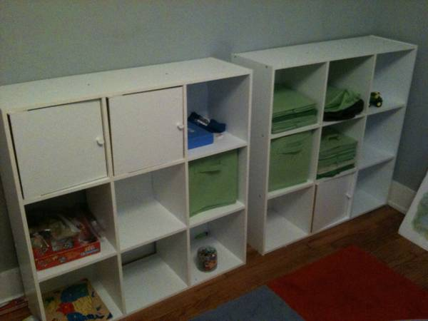 White Storage Cubes with Green Canvas Bins $25 each ($90 for all 4)