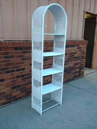 White Wicker Bookshelf $25