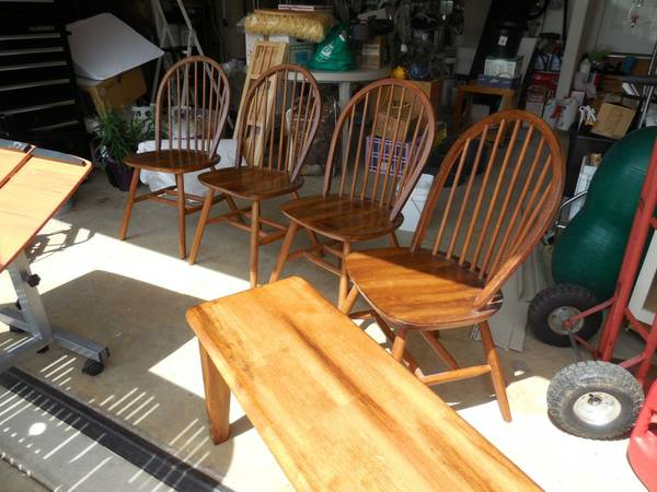 Rectangular Table with 4 Chairs and a Bench $150