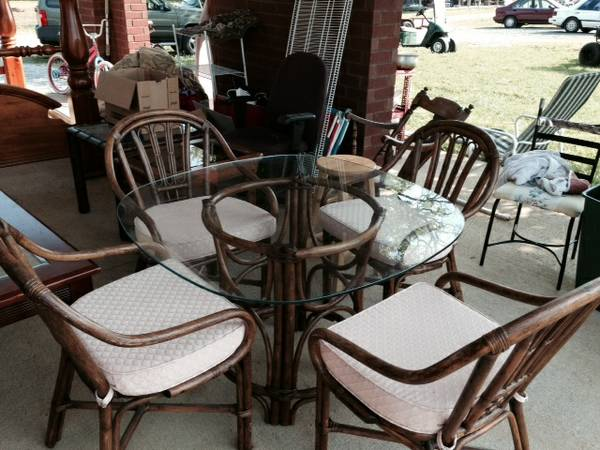 Bamboo Table and Chairs $175  - I think this table and chairs would look really good painted and with new cushions.