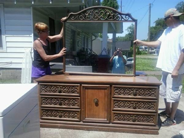 Dresser with Mirror $40  - I think this dresser would look great painted and for $40 its a good deal.