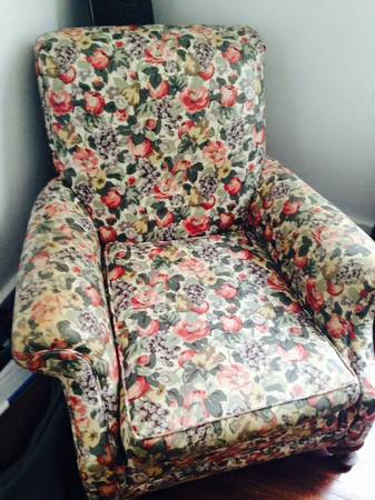 Floral Chair $10  - You can't beat the price on this chair. I can't quite tell the condition of the fabric from the photo but chintz style fabric is making a comeback so this could be a good piece in the right room. If the fabric is not in the best then $10 is a great price for a project chair.