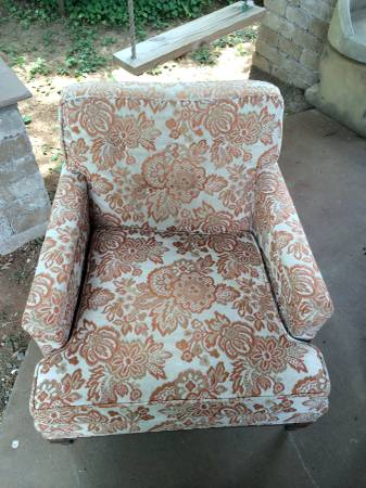 Vintage Flora Chair $135  - This chair has a great coral and cream fabric and looks like the fabric is in good condition. This is a fun find, however it is in Bowling Green.