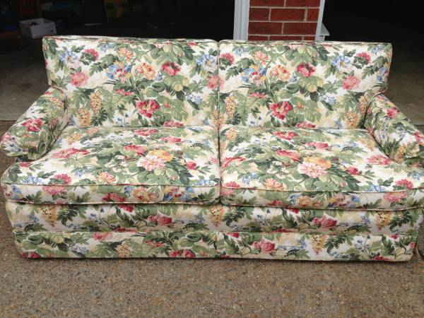 Floral Couch $75 - Don't let the busy floral pattern scare you off, this could be really cute with a few simple patterned pillows. Check out  this post on Apartment Therapy  about decorating with a patterned sofa.