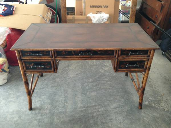 Bamboo Desk with Chair $400  - This is a Theodore Alexander piece. Theodore Alexander is a high end furniture brand, seller says they paid $2200 for this desk.
