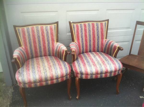 Pair of Antique Chairs $50  - This would be a good set if you were up for a reupholstery project.