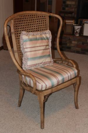 Bamboo Wing Chair $45 - The beauty of this chair is being hidden by these pillows. Would look great as is or painted.