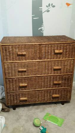 Wicker Dresser $50  - This is a great piece and could work on a bedroom or in a living room/family room. I would style this piece similar to  this one .