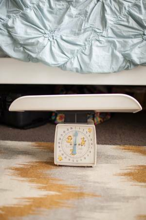 Antique Baby Scale $30  - This would be a really cute decoration in a nursery.