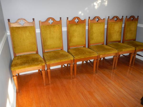 Set of 6 Vintage Dining Chairs $125  - These chairs need a bit of tlc but could be a great set once refinished.