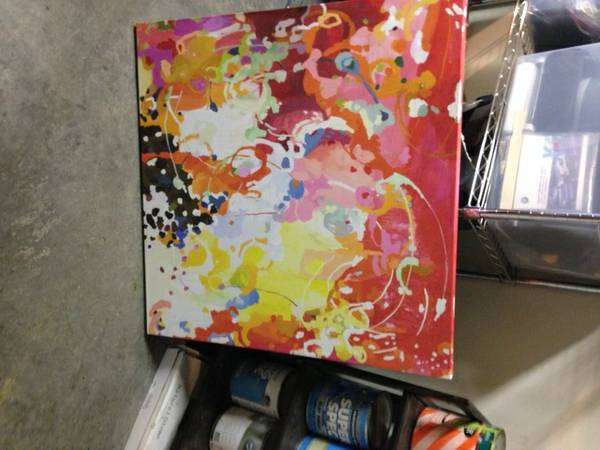 Abstract Art $50  - I love the bright colors in this and like the style, I'm guessing its a print but it reminds me a lot of the artwork I've seen from  Michelle Armas  - not 100% sure it is one of her pieces but its a fun find.