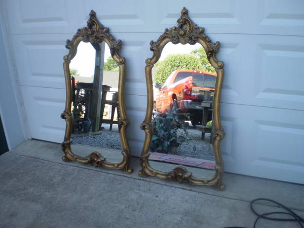 Pair of Mirrors $60  - I love to find pairs of mirrors - they could look great over a buffet, in an entry way or even in a master bath. These are nice as is but if you wanted a more modern look you could paint them.