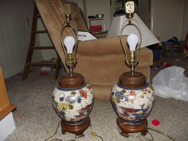 Pair of Ceramic Lamps $50 obo - I think these lamps could be really elegant with some new shades and possibly with the wood portion painted.