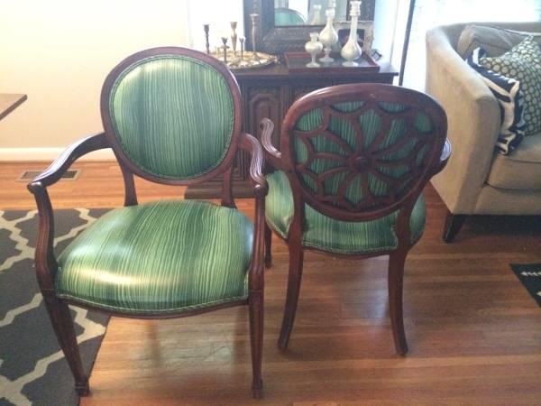 Pair of Antique Chairs $100  - I love the detailing on the back of these chairs - the wood could easily be painted.