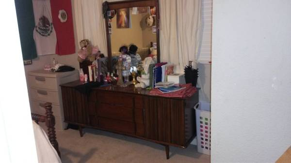 Mid Century Modern Dresser     $100   This is not the best photo but I think this is a good mid century dresser, could be used as is or painted.     View on Craigslist