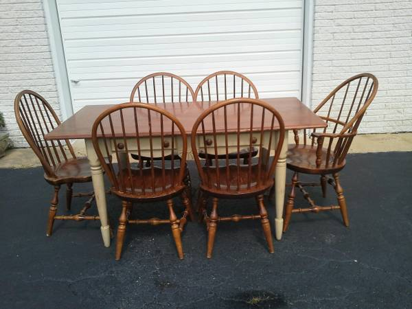 Table and 6 Chairs     $85   This is a good price for this whole set, just needs a coat of paint.    View on Craigslist
