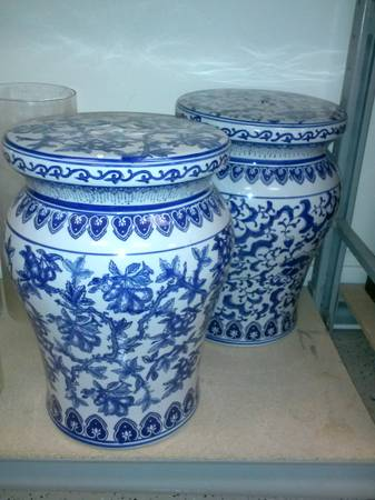 Blue and White Garden Stool     $35 each     View on Craigslist