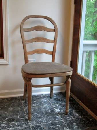 Antique Chairs     $25 each   Not sure how many of these the seller has but they have been stripped and I really like the finish on them as is. This seller is selling several other items so you'll need to scroll through the photos to see the chairs.    View on Craigslist
