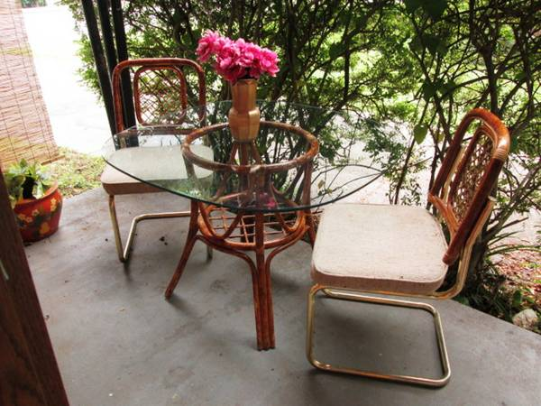 Rattan Dining Set     $60   This would be a great set to paint and would be really pretty on a covered patio or sunroom.    View on Craigslist