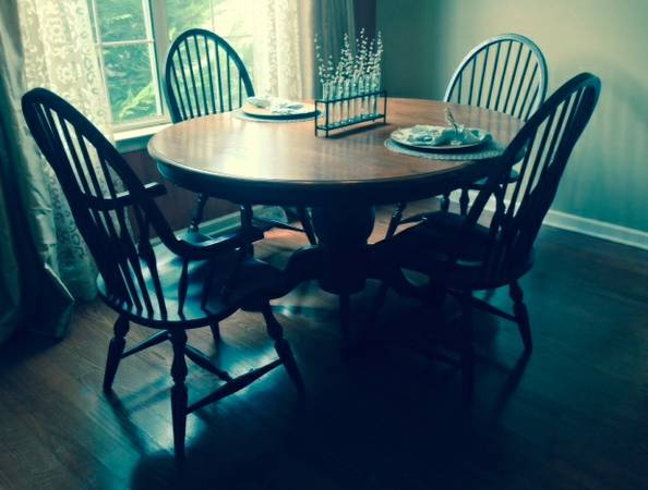 Kitchen Table and Chairs     $120   This set includes 6 chairs and 2 additional leaves.    View on Craigslist