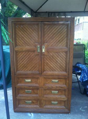 Armoire and Nightstand     $50   This Thomasville armoire and nightstand would be totally transformed with a coat of paint and $50 for the set is a really good deal.    View on Craigslist