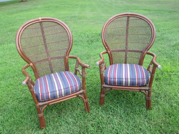 Pair of Rattan Chairs     $85   I love these chairs - they would look fabulous painted and with new cushions.    See on Pinterest      View on Craigslist