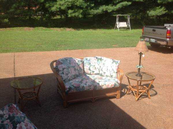 Rattan Furniture     $75   This set includes a loves eat and 2 end tables - I'd get rid of the cushions and get new and then paint the set.     View on Craigslist