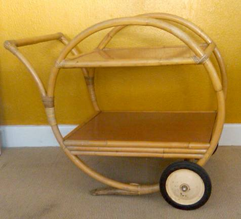 Vintage Bamboo/Rattan Tea Cart     $125   This would make a great bar cart - leave as is or paint a fun color. I don't love the wheels on it but I think they could be painted or changed out. I found a very similar cart for sale on 1stdibs for $1,275.    View on Craigslist