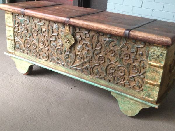 Carved Wood Trunk     $100   This would make a good coffee table.    View on Craigslist